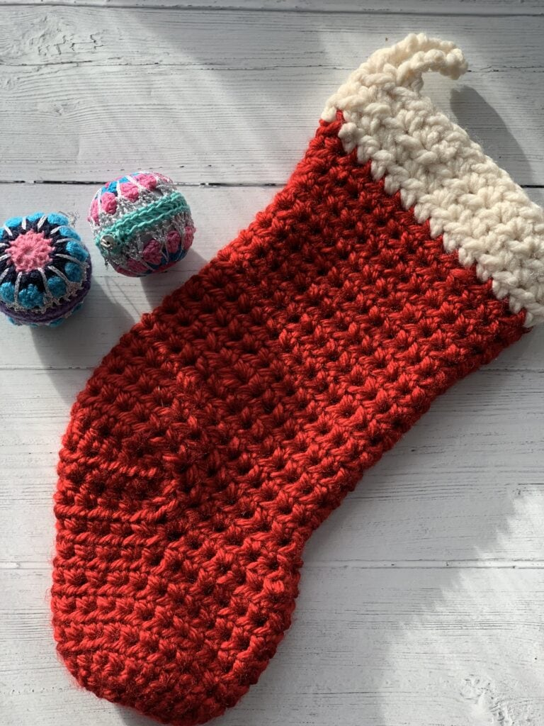 Quick crochet Christmas stocking