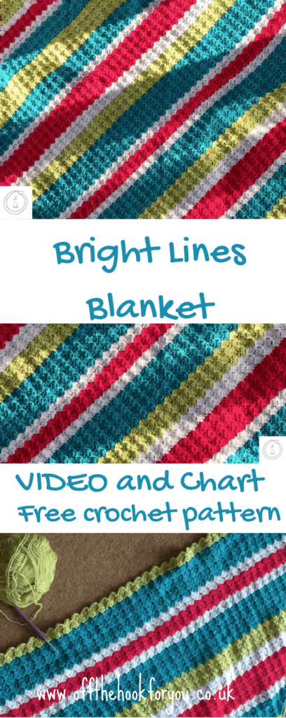Easy crochet blanket, bright lines, c2c retro design