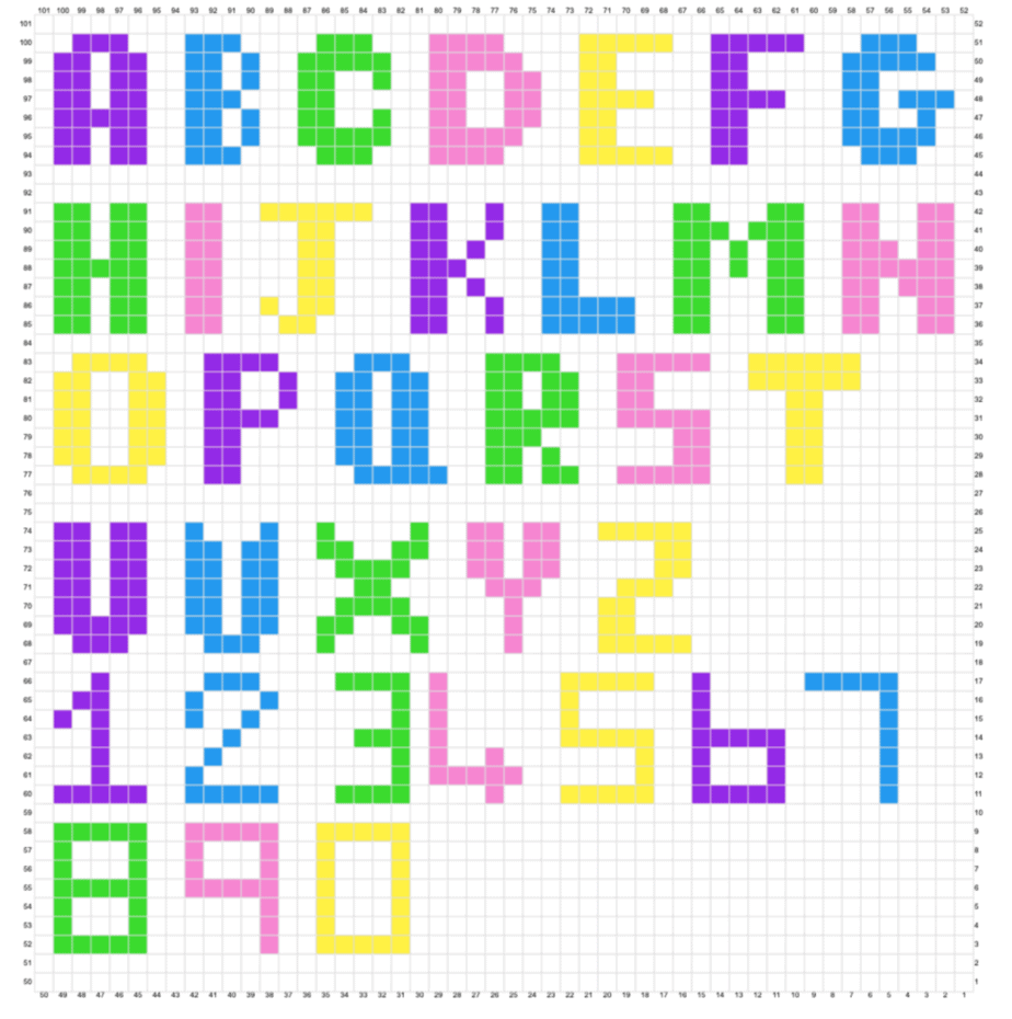 crochet cross stitch alphabet chart free