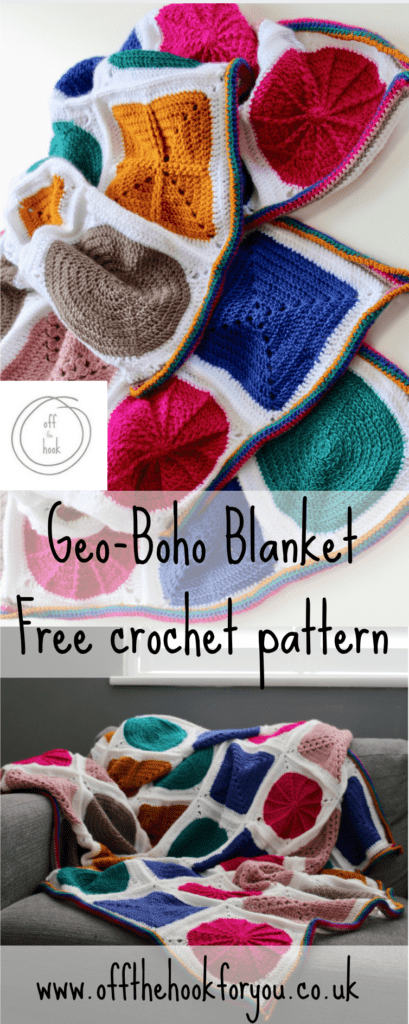 Geo-boho CAL, free crochet blanket pattern, bright bold blanket.  cygnet yarns, off the hook for you design