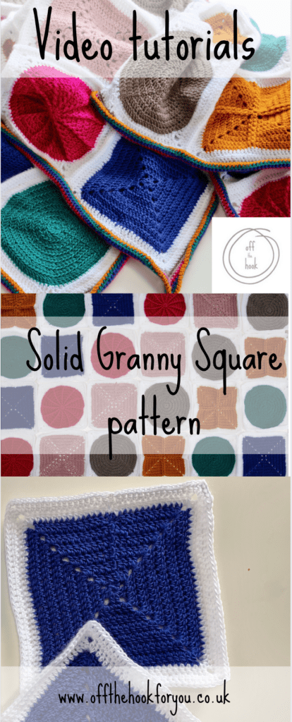Free solid granny square pattern - crochet how to  video.  Blanket pattern  Geo-boho