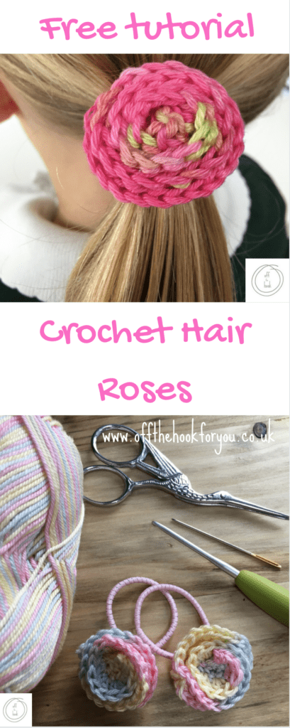 free crochet spiral rose pattern hair bobble / tie flower tutorial.  How to make a crochet hair bobble - full picture tutorial