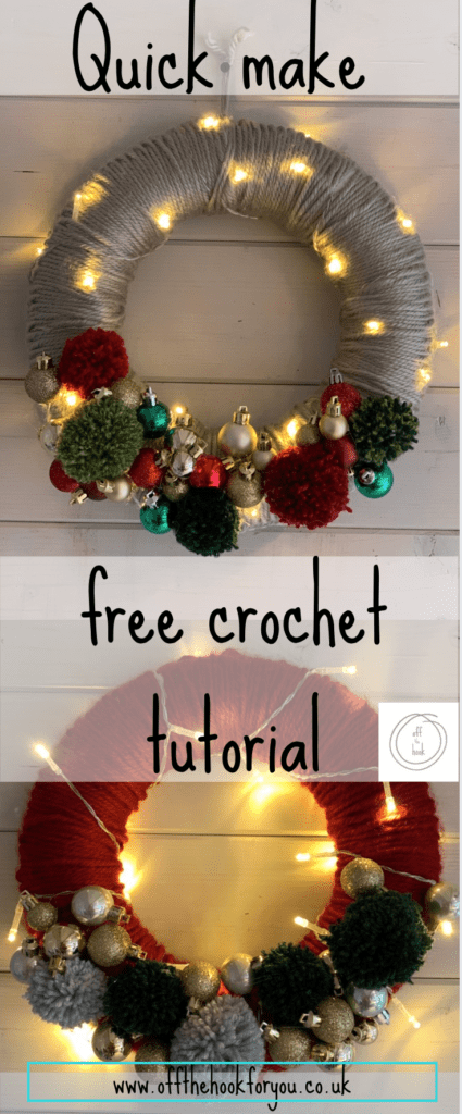 free crochet quick wreath pattern.  Free how to tutorial guide on how to make it.