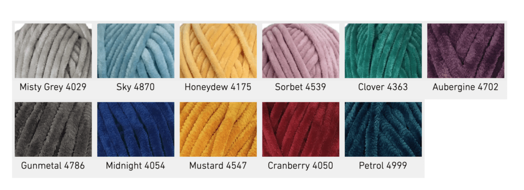 Cygnet Chenille Chunky yarn colours