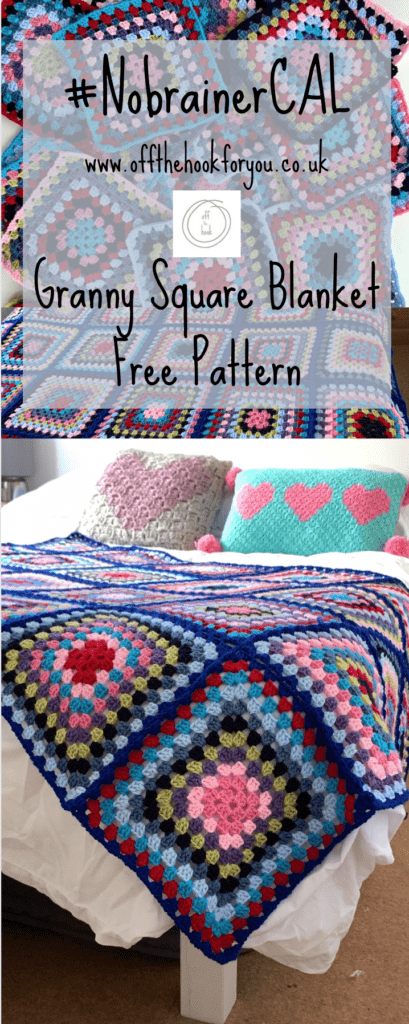 Bright bold granny square blanket pattern.  Free crochet pattern #NobrainerCAL  Off the hook for you crochet blogger