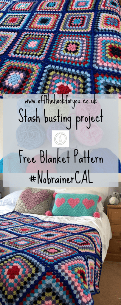 Granny Square blanket  - a great stash buster.  Bright and colourful crochet afghan blanket.  Continuous join.