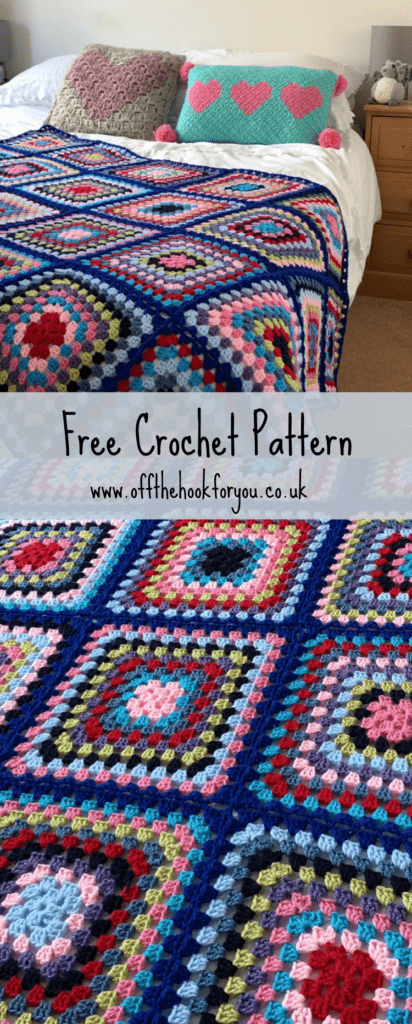 Crochet Pattern Granny Square blanket, bright and colourful.  #nobrainerCAL 13 weeks with www.offthehookforyou.co.uk