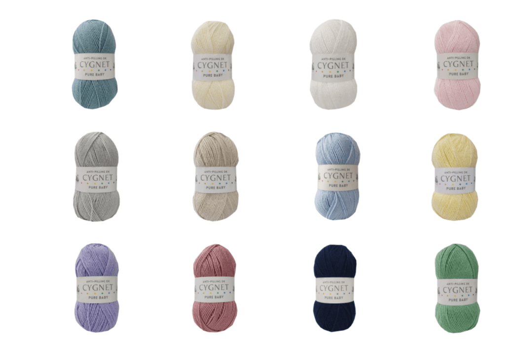 Cygnet Pure Baby yarn colours