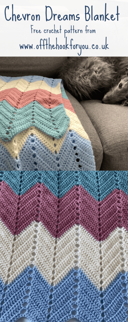 Chevron dreams, free crochet pattern with Cygnet yarns, www.offthehookforyou.co.uk