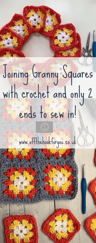 How to join granny squares with only 2 ends to sew in (CJAYG).  Continuous joining of granny squares.