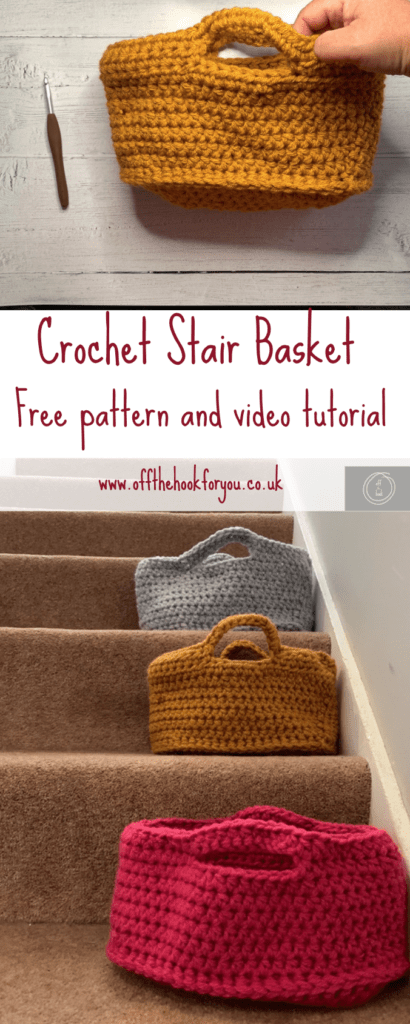 crochet stair basket, free crochet pattern - video tutorial www.offthehookforyou.co.uk