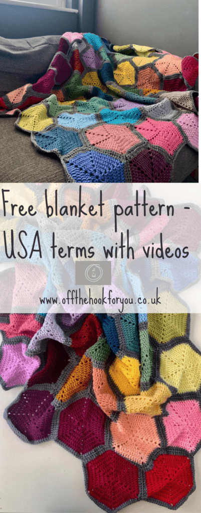 free crochet hexagon blanket pattern.  How to videos for making the hexagons and joining.  www.offthehookforyou.co.uk