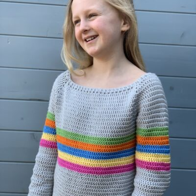 All the Stripes, kids crochet sweater free crochet pattern. www.offthehookforyou.co.uk. Cygnet Silcaress yarn